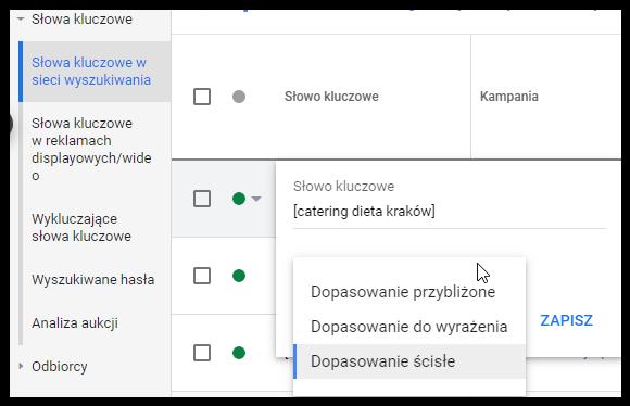 jak zmienić dopasowania słowa kluczowego na koncie Google Ads
